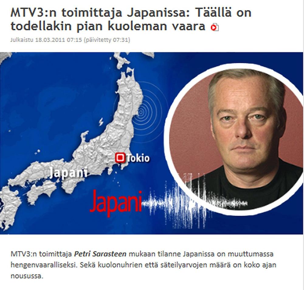 Fukushiman onnettomuusuutisia hallitsi Suomessakin pelko. Kuvaleike.