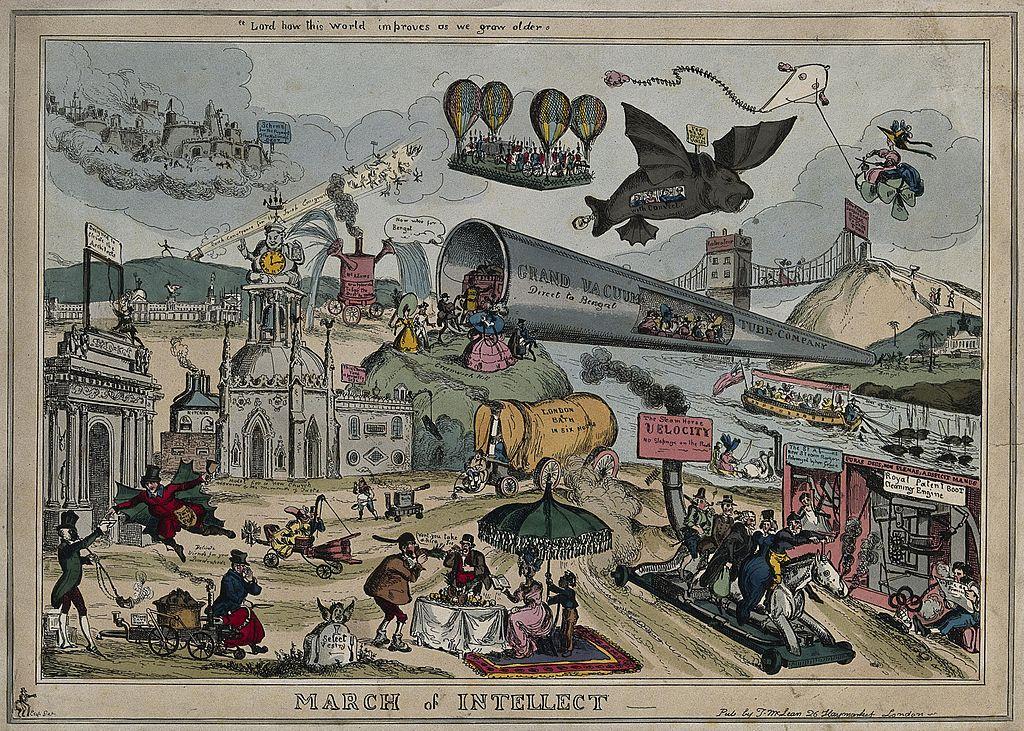 William Heathin futuristinen visio vuodelta 1829. Kuva: Wikimedia Commons.