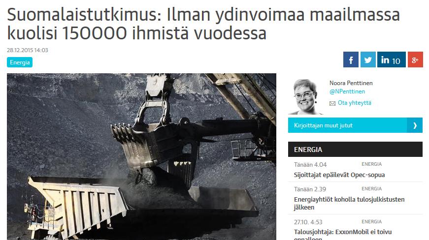 Kuvankaappaus Kauppalehden artikkelista.