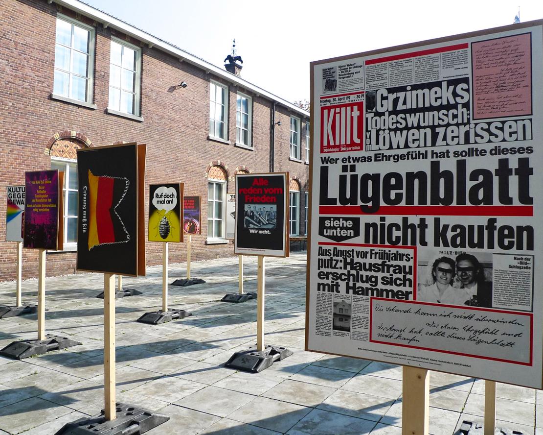 Juristi, aktivisti ja itseoppinut graafinen suunnittelija Klaus Staeckin on tehnyt julisteita 1960-luvulta lähtien. Tässä pilkataan saksalaista sensaatiojournalismia (1980).
