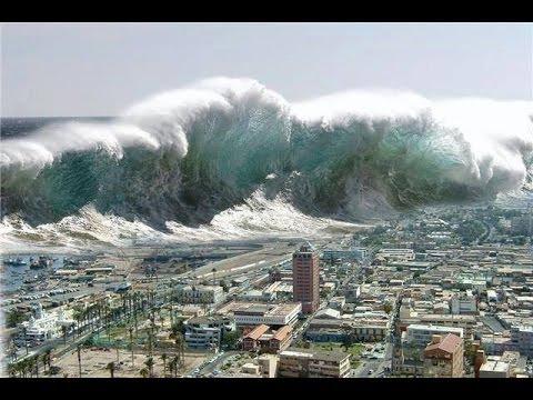 Taiteilijan näkemys tsunamin iskeytymisestä Japanin itärannikolle 2011. Kuva Santa Monica Observed 2016