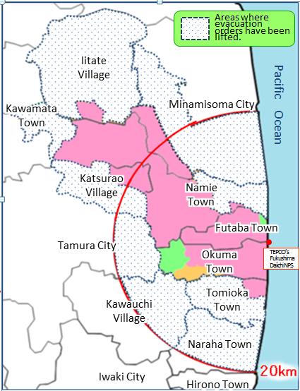 Kuvassa pinkillä merkityt edelleen vuonna 2018 kielletyt alueet. Harmailla pisteillä on merkitty alkuperäinen evakuointialue. KUVA: Fukushiman prefektuuri.